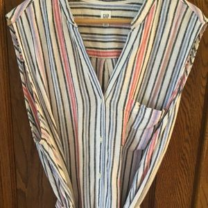 GAP Dresses - Midi length shirt dress, cute stripe pattern